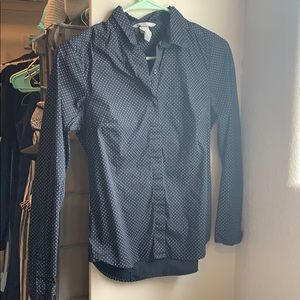 H&M navy polka dot button down